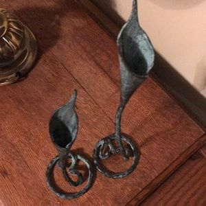 Vintage Accents - Bronze candleholders, vintage